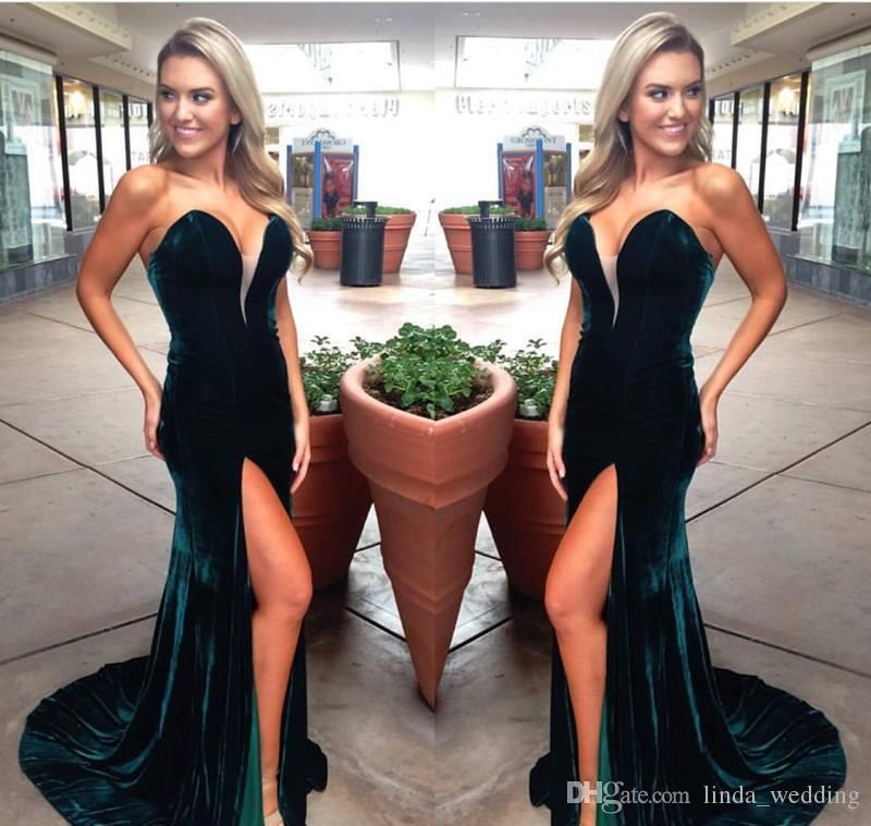 2018 Mermaid Evening Dress Hunter Green Sweetheart Velvet Long Backless Formal Holiday Celebrity Wear Prom Party Gown Custom Made Plus Size