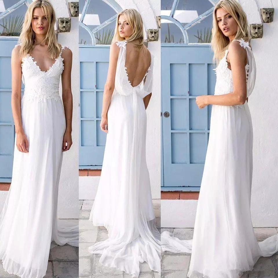 Sexy Beach Lace Wedding Dresses Deep V Neck Spaghetti Straps Chiffon Low Back Bridal Gowns Cheap Bohemian Country Wedding Dress
