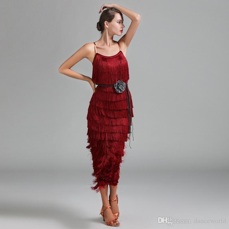 Tassel Latin American Dance Dresses Women Latin Dress Rumba Modern ... 21f0c8df7d4f