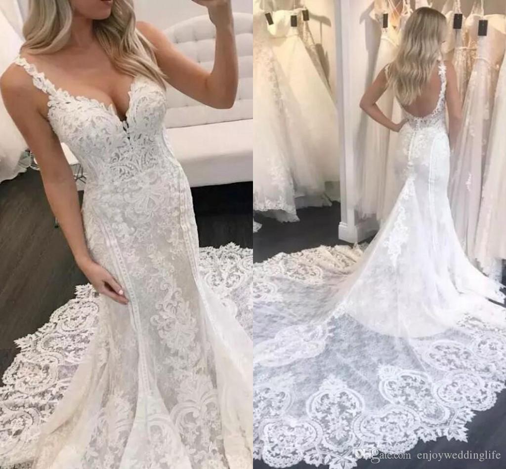 2018 Berta Elegant Mermaid Lace Wedding Dresses Appliqued