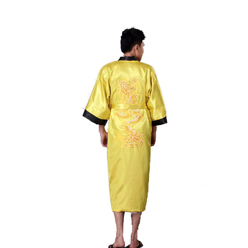 2019 Gold Black Chinese Men s Reversible Satin Robe Embroidery Dragon Kimono  Bath Gown Two Side Sleepwear S M L XL XXL XXXL 011012 From Hongyeli f666706fd
