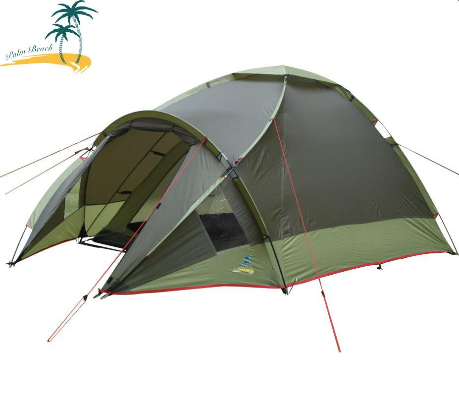 Outdoor sports 3-4 double layer fiberglass rod camping tent export top quality guarantee Fireproof waterproof