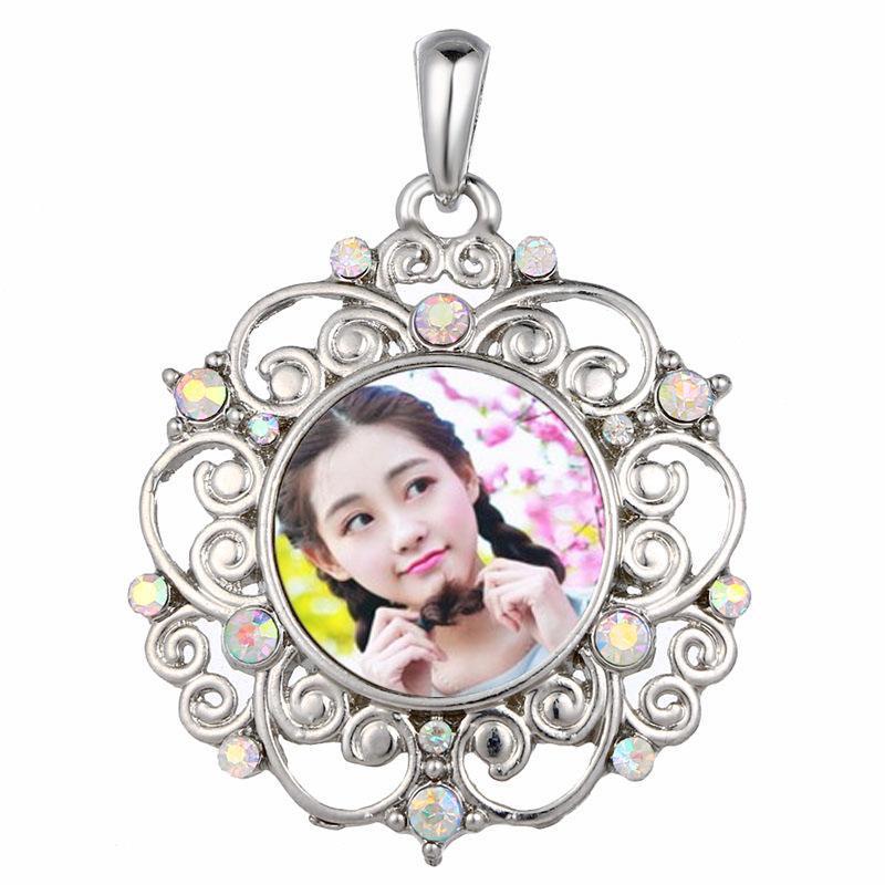 Farbstoff Sublimation Taste Halsketten Anhänger Mode Blume Halskette Anhänger mit Zirkon für Frau Wärmeübertragung DIY blank Verbrauchsmaterialien
