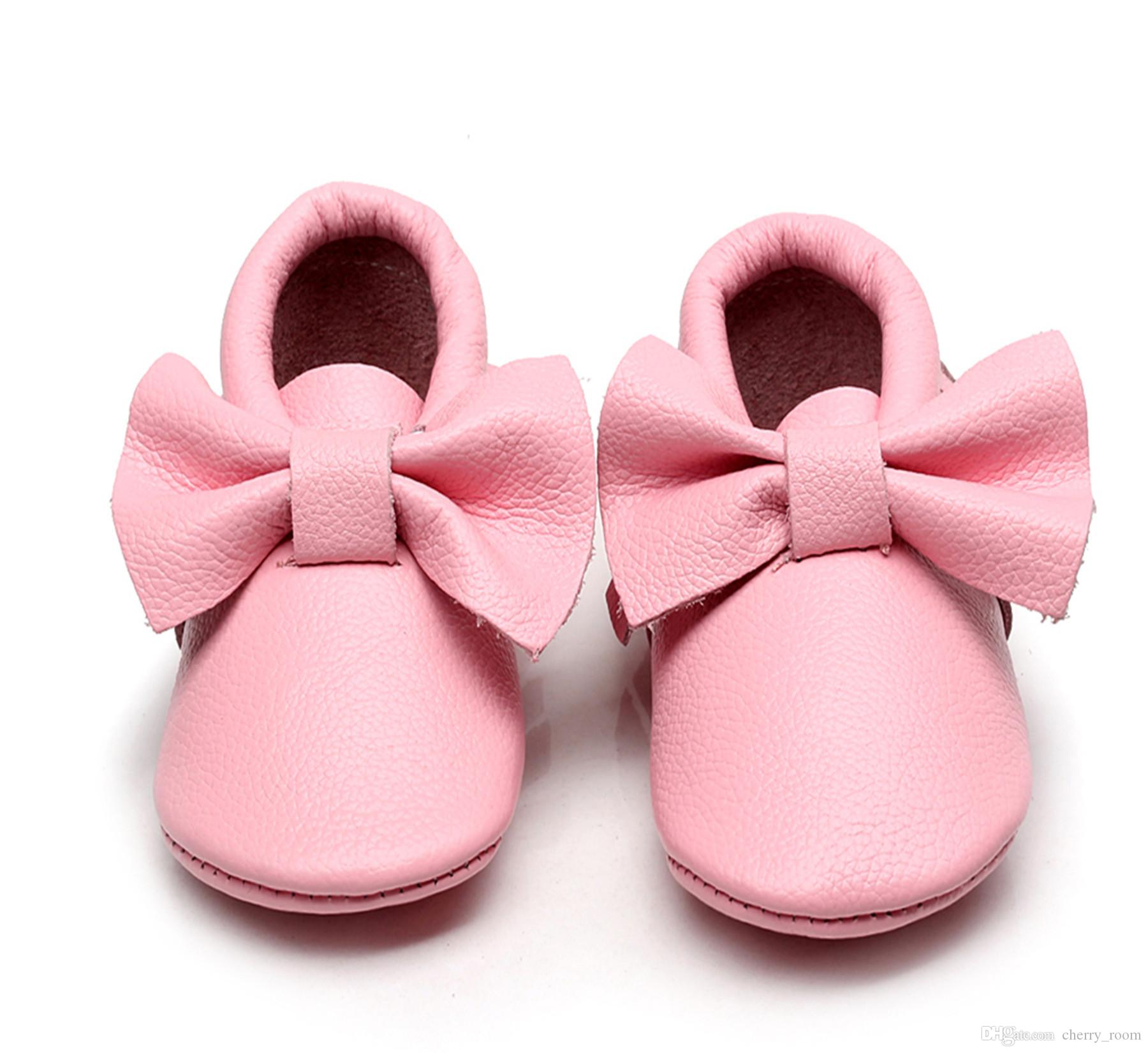 b6cfa83a20ed43 2019 New 0 18M Newborn Infant Baby Girl Bowknot Cute Fashion Soft PU Leather  Anti Slip First Walker Prewalker Toddler Girl Shoes Pink A8515 From  Cherry room ...