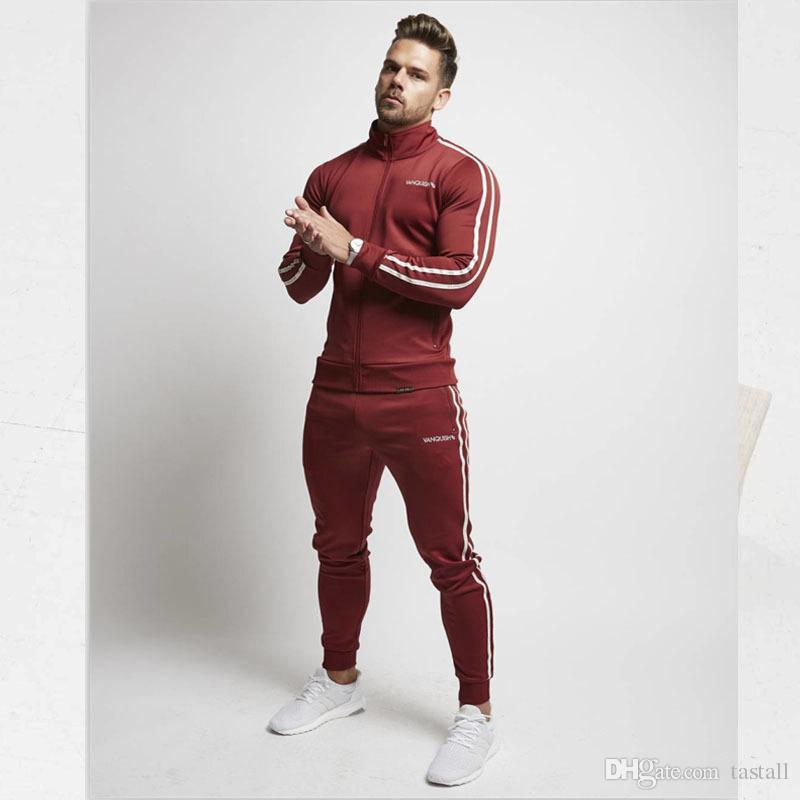 Mens Spring Chándales Sports GYM Slim Fit Clothing Sets Stand Collar Stripes Trimmed Tops Pantalones largos trajes Sports Joggers