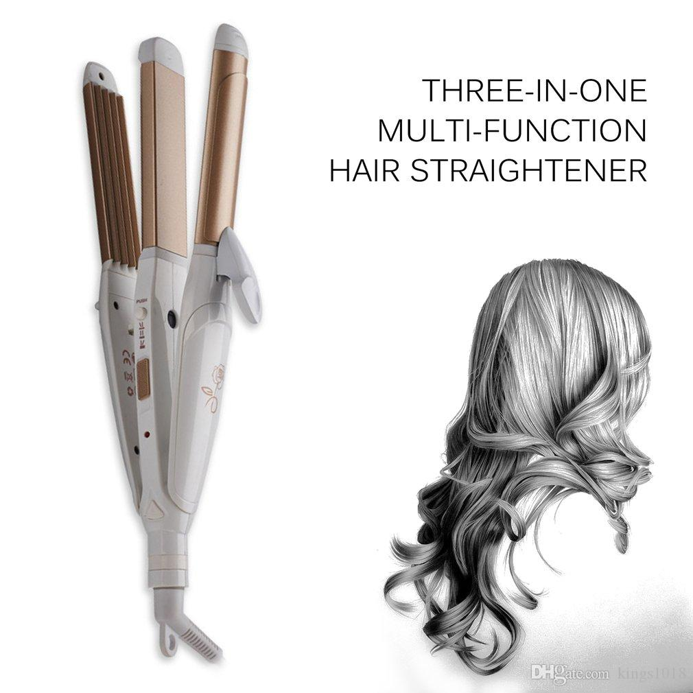3 In 1 Multifunctional Hair Straightener Hair Curling Iron Multifunction Corrugated Flat Iron Corn Plate Heated Roller