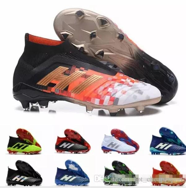 2018 Nuevo Predator 18 FG PP Paul Pogba Tacos de fútbol Slip On Chaussures De Football Boots Predator para hombre 18 Zapatos de fútbol superiores