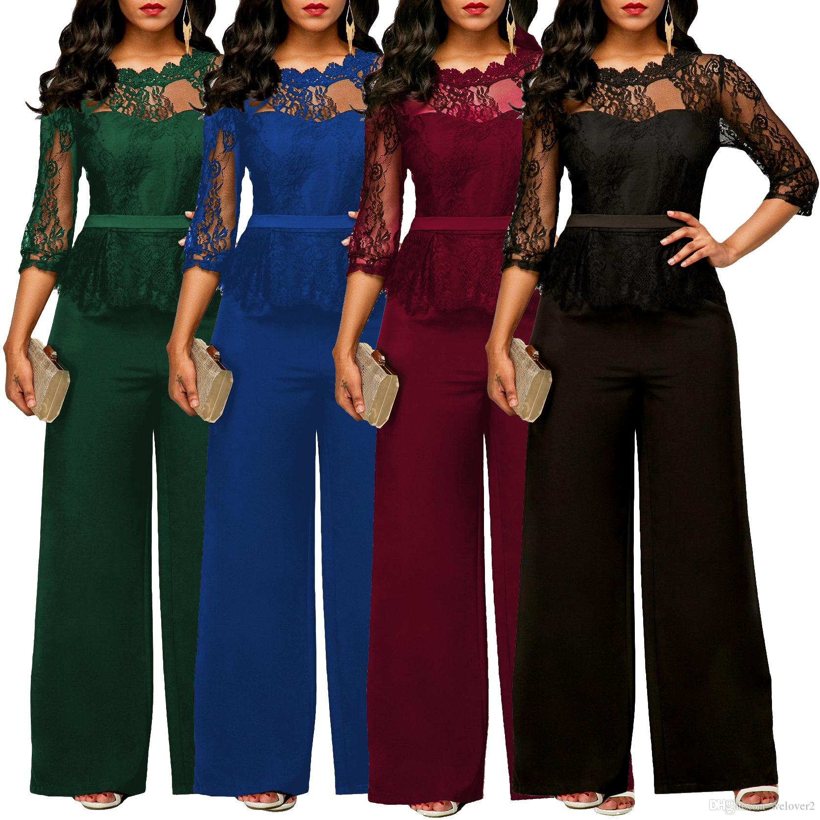 f719a21aa9 2019 New Women Jumpsuits 2018 Spring Summer Sexy Lace Jumpsuit Office Work  Fashion Ruffles Plus Size 2XL Long Straight Jumpsuits Red B5433 From  Welover2