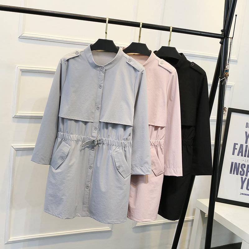 Nfive marca 2017 das mulheres sólidos da cintura casacos moda coreano gordura pessoas único breasted trench outono plus size bodycon casaco casual