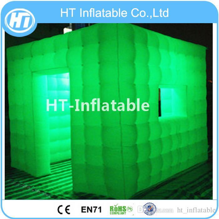 Freies Verschiffen 2.4x2.4 mts Cube Tube LED Aufblasbare Photo Booth Enclosure In Guangzhou Aufblasbare Fabrik Für