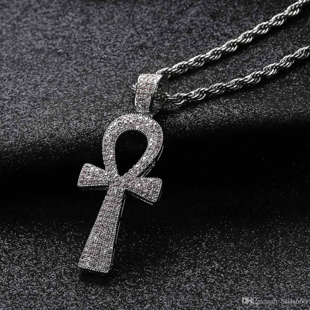 Горячие продажи хип-хоп египетский АНК ключ кулон ожерелье медь полный цирконий Иисус крест ожерелья панк ювелирные изделия для мужчин и женщин