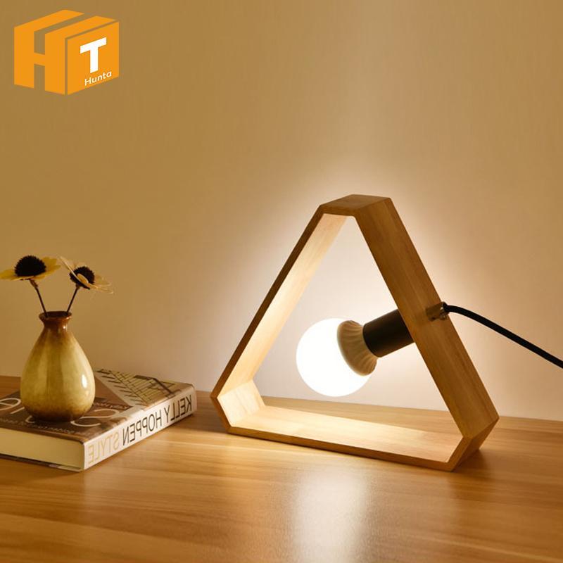 Grosshandel Kunst Holz Schreibtischlampen Nordic Moderne Dreieck
