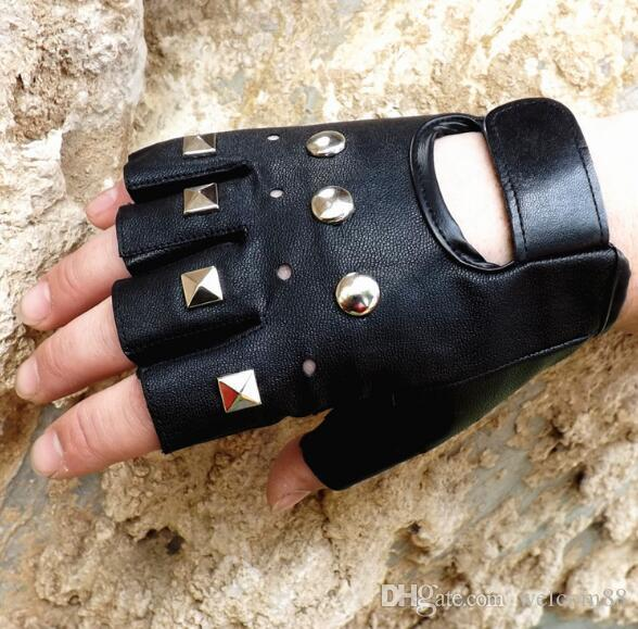 Mix Styles Fashion Black Real Leather Fingerless Gloves For Dancing Motorcycle Driving Sports GL06