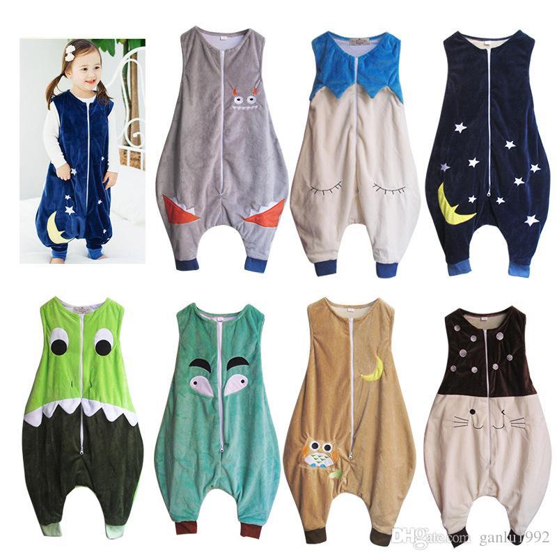 New Flannel Pajama Kid Sleeveless Sleepwear Keep Warm Cartoon Children Sleeping Bag Prevent Kick Quilt Hot Sale 39qd C