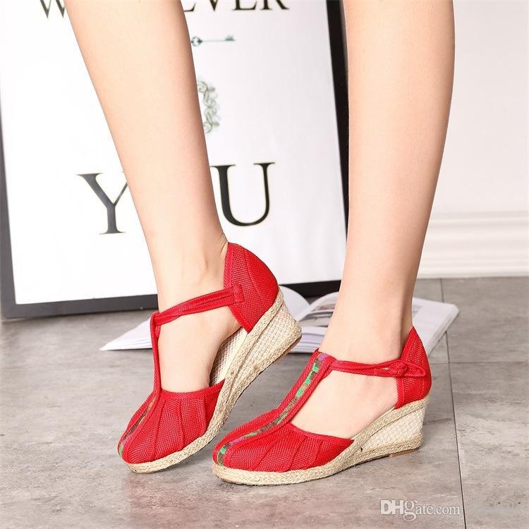 833bc0c1a57 Cloth Casual Shoes Ankle Strap Wedges Shoes Women Sandals Folk Custom Pumps 2018  New Arrival Cloth Shoes Cloth Wedges Shoes Ankle Strap Wedges Shoes Folk ...