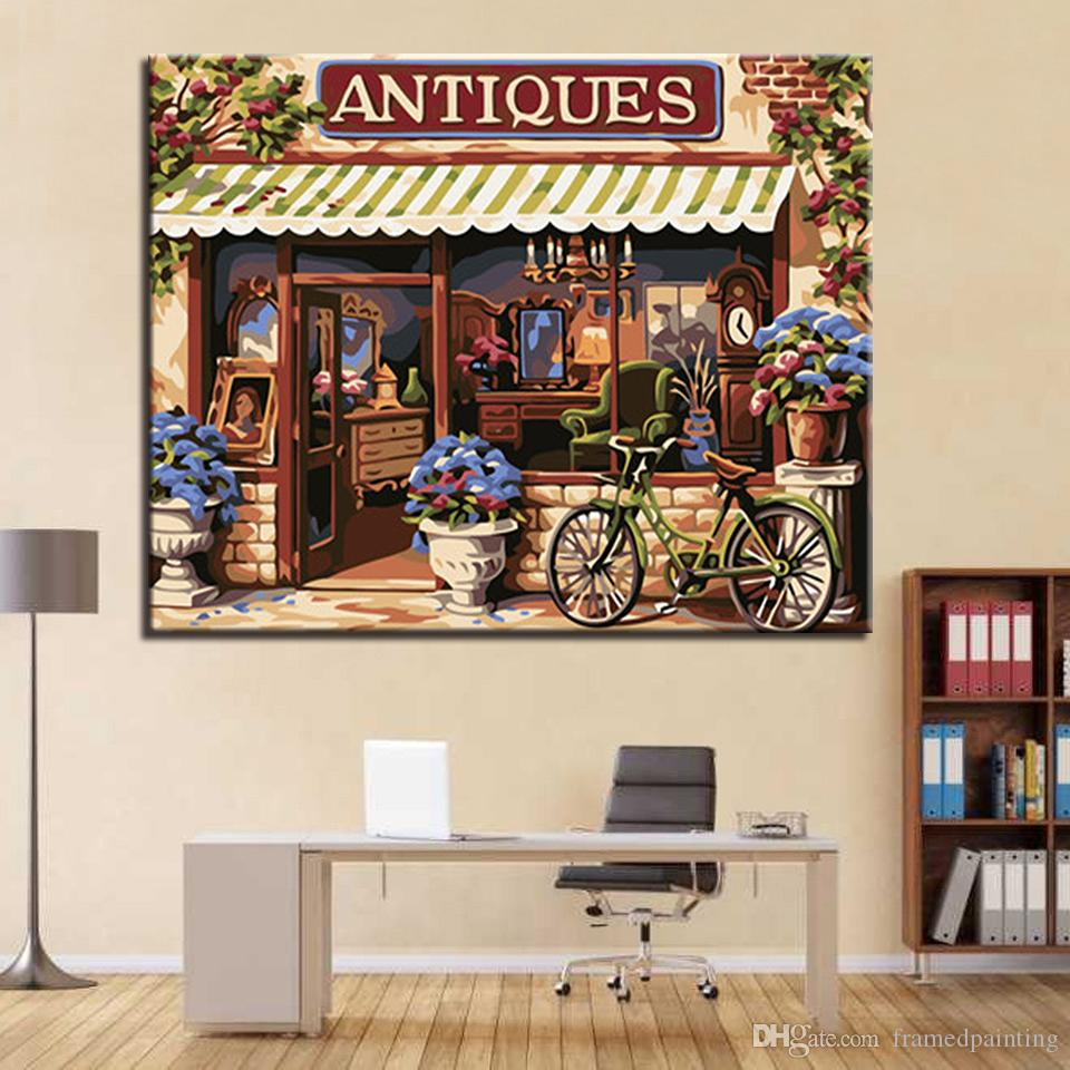 European Style House DIY Painting By Numbers Hand Painted Wall Art Antiques Canvas Oil Pictures Home Decor Living Room Artwork
