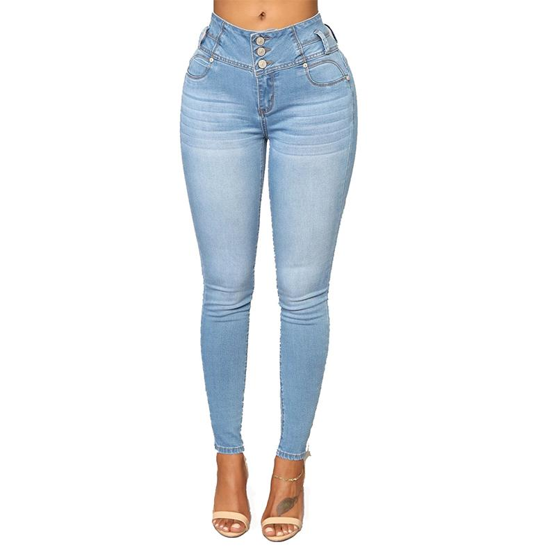 d58e451309 2019 Women Fashion High Waist Buttons Skinny Denim Pencil Pants Ladies  Casual Stretch Washed Jeans Feet Pants Trousers From Zhenhuang, $25.08 |  DHgate.Com
