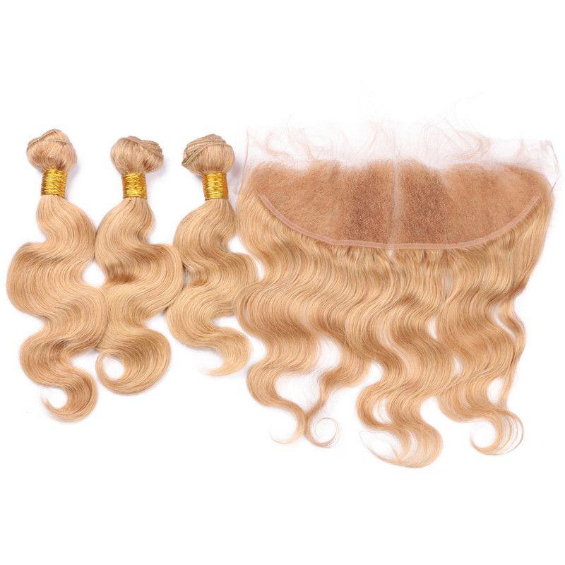 Боди-Вэйв #27 клубника блондинка бразильские девственные человеческие волосы плетет 3 шт. Комплект сделок с мед блондинка 13x4 кружева фронтальная закрытие 4 шт. Много