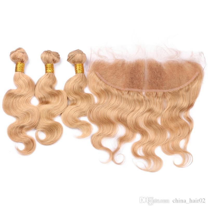 Body Wave # 27 Strawberry Blonde Brasiliano Virgin Human Hair Tesse 3Pz Offerte di bundle con Miele Blonde 13x4 Frontal Del Merletto Chiusura 4 Pz lotto