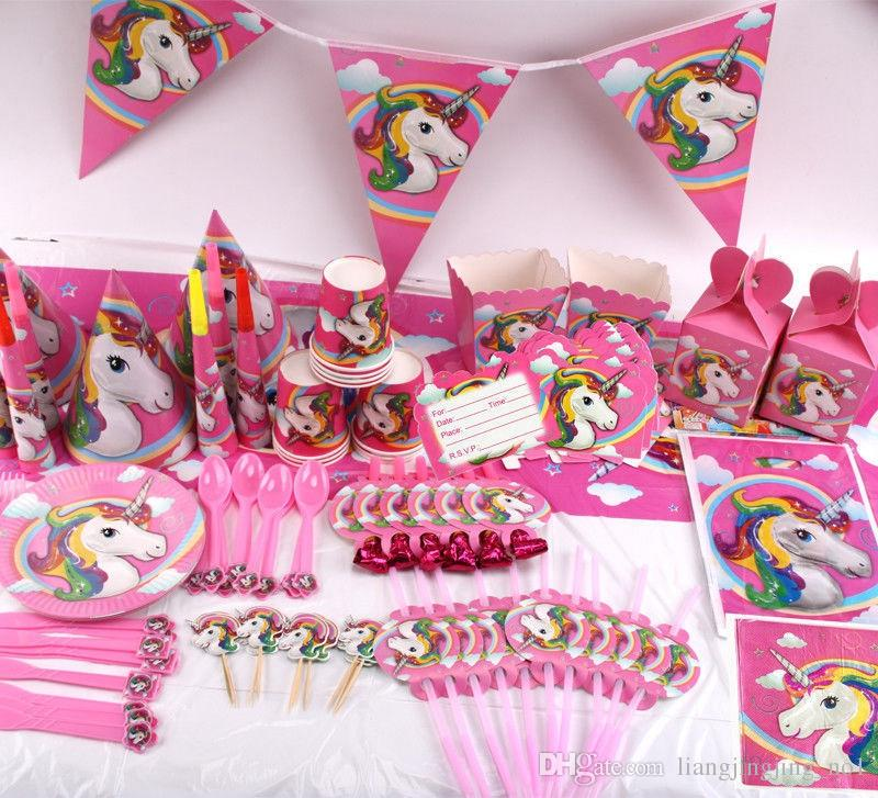Unicorn Birthday Party Set Favor Supplies With Disposable Tableware Cake Toppers Hanging Kit BBA174 Invitations