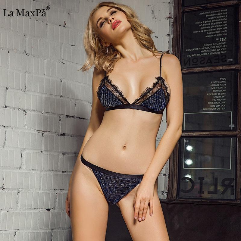 c7dd0e44e03 Women Sexy Bra Set Lace Triangle cup Underwear Suit Lingerie Set Summer  Wireless Thin Breathable Bralette Female bra and panty