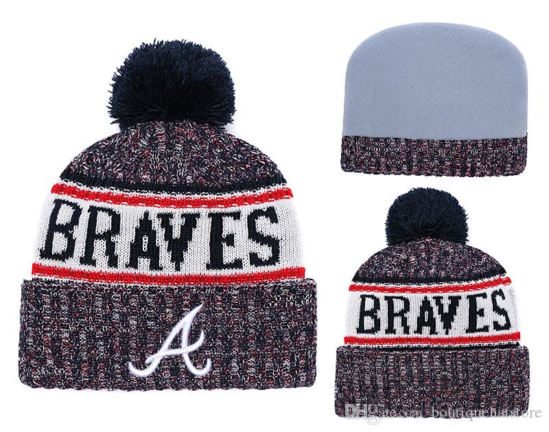 fc79963b 2018 Braves Sport Cuffed Knit Hat Beanies With Funny Pom Logo Embroidered  Classic Sport Baseball Winter Skullies Hats Fans Fanshion Beanie Custom  Beanies ...