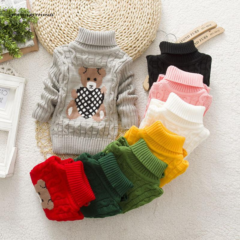 Casual Boy Girl Sweaters Baby Kids Long Sleeve Wool Turtleneck ...