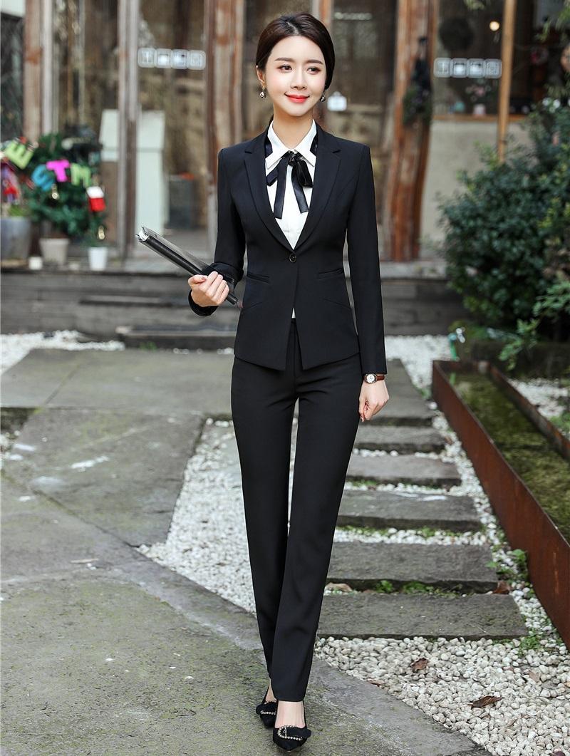 1b977a89fd929f Formelle Black Blazer Femmes Business Costumes avec Pantalon et Veste  Ensemble Ladies Work Wear Bureau Uniform Designs Syles