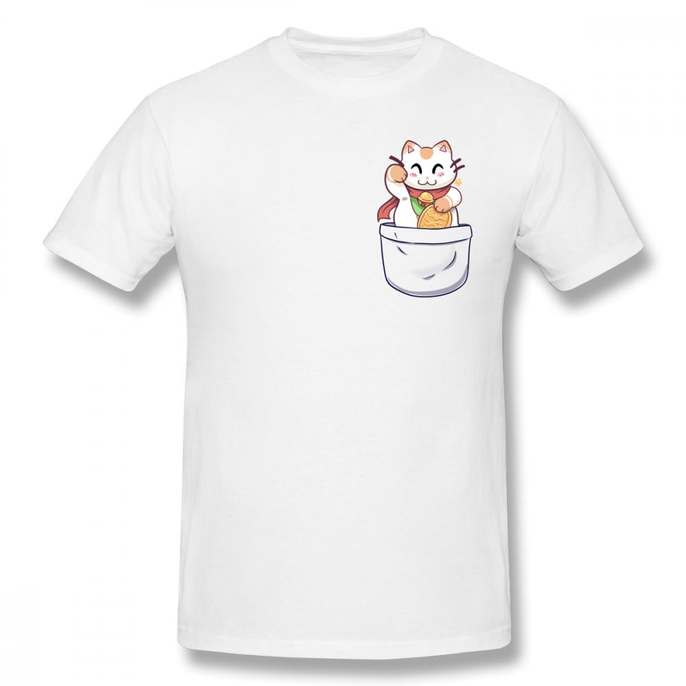 Stylish Lucky Cat In Your Pocket Tees Homme Tee Shirt Pure Cotton