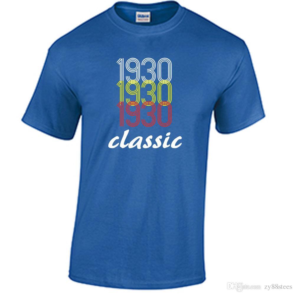 Born In 1930 Birthday T Shirt Birth Year 88Th Gift Men Boy Designed Custom Short Sleeve Boyfriends