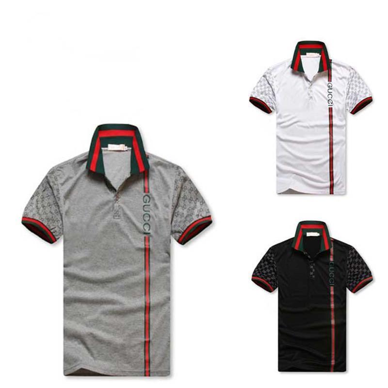 08e8f3650bf3cd Großhandel Männer Designer Polo Shirts Sommer Luxus Polo Herren Hemd Lose  Atmungsaktiv Striped Brief Drucken Mode Lässig Stil Marke Shirt Von Di men