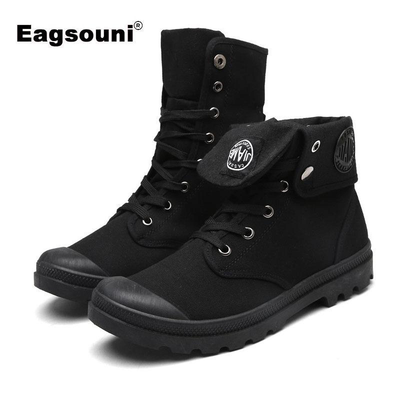 16462aa6e0b32 Compre 2019 Otoño Invierno Adolescentes Adultos Moda Cuero Botas Militares  Para El Ejército Botas Militares Para Hombre Zapatos De Lona Casuales  Zapatillas ...
