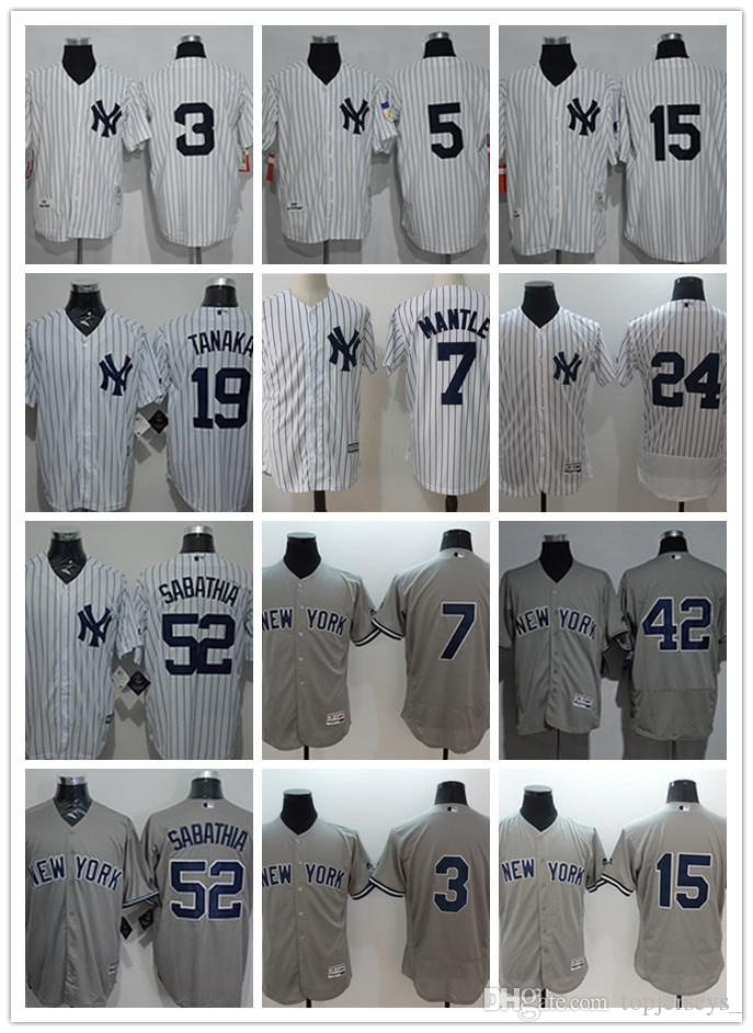 newest 3536a d9d9f Men NY Yankees Jersey 42 Mariano Rivera 24 Gary Sanchez 5 Joe DiMaggio 15  Thurman Munson 52 C.C. Sabathia Baseball Jerseys