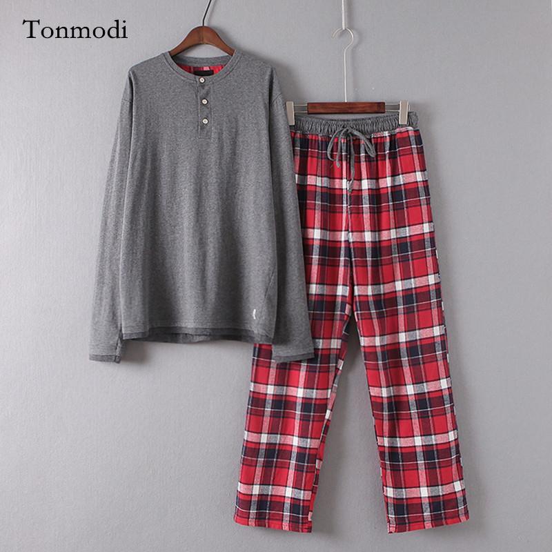 4fb8288187b7f5 Großhandel Pyjamas Für Männer 100% Baumwolle Gestrickt Langarm Herren Pyjama  Lounge Nachtwäsche Hosen Pullover Pyjama Set Von Xx2015, $47.33 Auf  De.Dhgate.