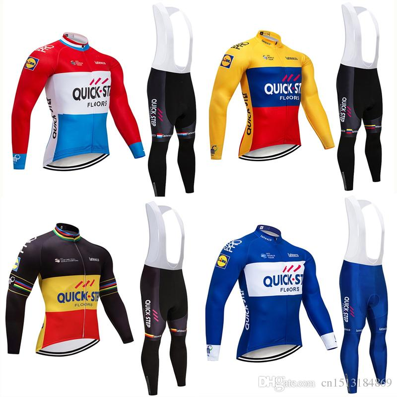 UCI 2018 Pro Team Quick Step Winter Thermal Fleece Cycling Jersey Kit Ropa  Ciclismo Invierno Bicycle Bike Clothing 9D Pad Bib Pants Set Cycle Shirts  Padded ... 5b1e029d8