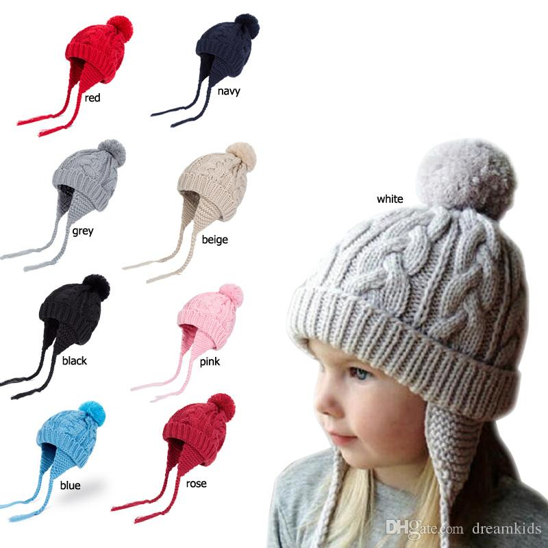 8e58df8651d Baby Pom Winter Hat For Boys Girls Ball Hat Kids Warm Knitted Hat Newborn  Beanie Cap Fashion Cute Infant Cap UK 2019 From Dreamkids