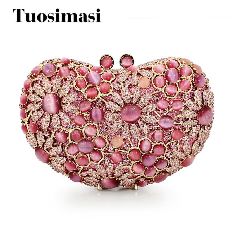 cbf4533b54 Gift Box Packed Women Heart Pink Stones Crystal Rhinestones Metal Clutches  Evening Bag Wedding Cocktail Hardware Handbag Purse Purses Online Black  Leather ...