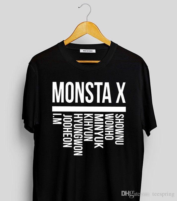 f47a3d03e0c Monsta X Members Kpop T Shirt Monsta X Monbebe Shirt Monsta X Merch Kpop  Merch T Shirt Men Funny Short Sleeve Thanksgiving Day Custom Plus Super  Cool T ...
