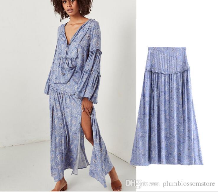 e316d64f25 Compre Faldas Largas Boho De Cintura Alta Mujeres Estrella Azul Estampado  De Flores Dividir Maxi Falda Playa Vestidos De Bohemia Elegante Falda De ...