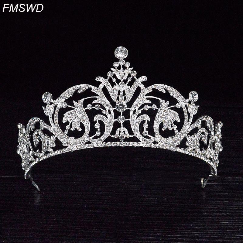 Vintage Silver Color Baroque Crown Bridal Wedding Tiara Diadem Queen ... 0daf36c671c7