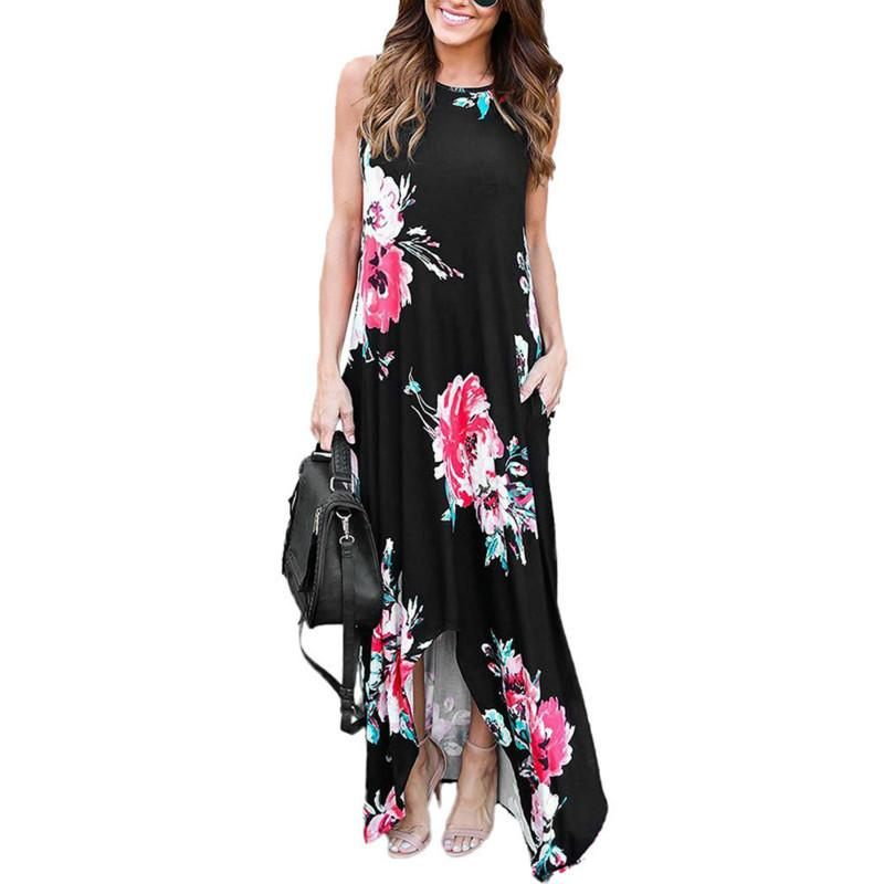 4a973f36b8 2018 Fashion Women Clothing Dress Floral Party Sleeveless Prom Floral Summer  Beach Maxi Dresses Women New Night Dress Sun Dresses From Qinfeng02