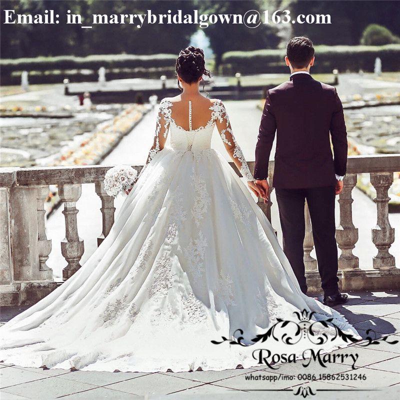 Império de luxo vestido de baile vestidos de casamento 2020 ilusão apliques de renda do vintage mangas compridas plus size barato árabe muçulmano país vestidos de noiva