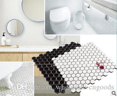 Modern black and white six corner mosaic small floor tile kitchen and bathroom tile balcony laundry room floor tile