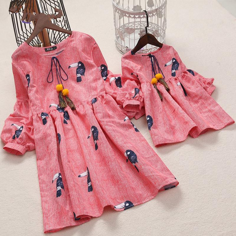 ded0060c Matching Dress Family Outfits Baby Girl Dress PopReal Mom Girl Birds Prints  Lantern Sleeve Family Wear Dress Clothes Mommy And Son Matching Shirts  Matching ...