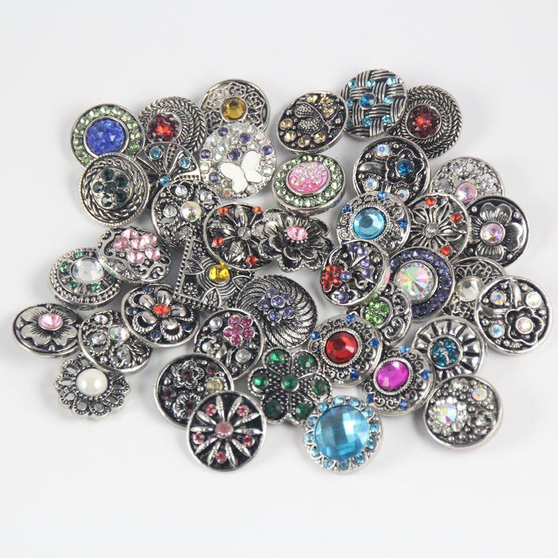Druckknopf 18mm Schmuck Strass Knöpfe 18mm Metall Strass Druckknöpfe Fit Snap Bracelet Bangles Necklaces