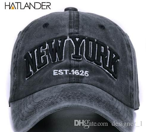 336f462a6f4 HATLANDERSand Washed 100% Cotton Baseball Cap Hat For Women Men Vintage Dad  Hat NEW YORK Embroidery Letter Outdoor Sports Caps Caps For Men Custom  Baseball ...