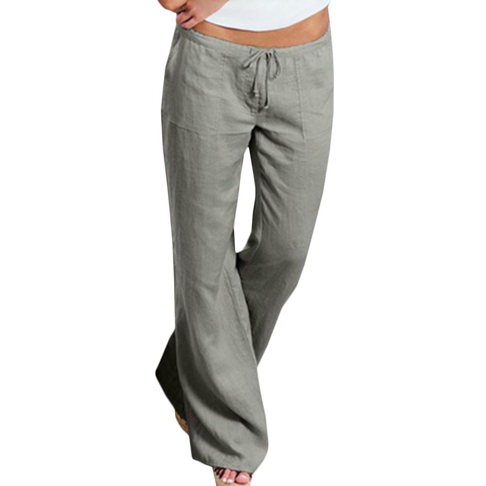 3dd8a54f6 Compre Pantalones De Lino Elásticos Femeninos De Cintura Alta Pantalones  Casuales Rectas Femeninos Pantalones Anchos De Pierna Ancha Suelta A  35.68  Del ...