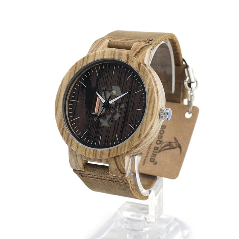 8dd2fead410 Masculinos Relogios BOBO BIRD Mens Wooden Watches Quartz Watches Genuine  Leather Strap Wood Wristwatches Vintage Relogio Masculino C-H29 Masculino  ...