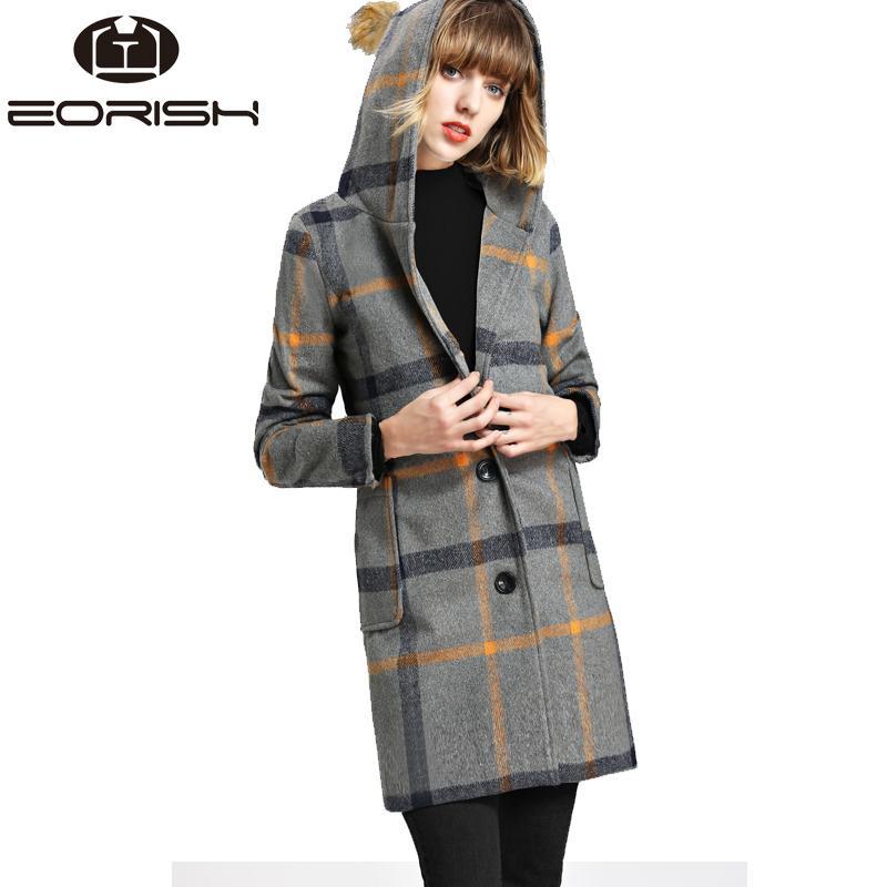 3aca62bd8a782 2018 2018 New Winter Hooded Woolen Coat Plaid Long Jackets Women Single  Button Manteau Femme Hiver Big Size XXL From Edwiin04,  51.02   DHgate.Com