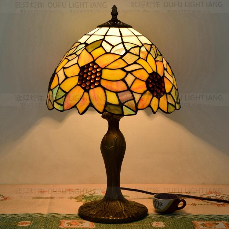 2019 12 Inch Sunflowers Tiffany Table Lamp Country Style Stained